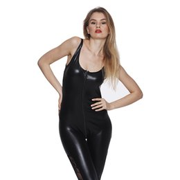 $enCountryForm.capitalKeyWord Australia - Black Jumpsuit Tight-fitting Faux Leather Catsuit Full Length Rompers Sexy Women Summer Jumpsuit Night Club Wear