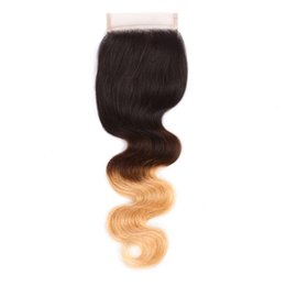 Human Hair Rooted Color UK - Ombre color 1B 27# Blonde Human Hair Lace Top Closure With Dark Roots 130% density Brazilian Body Wave Hair Blonde Lace Closures