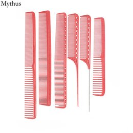 Discount cutting curly hair - Red Color Resin Material Druable Barbers Cutting Comb,6Pcs Lot Meadure Scale Comb Sets,Hairdressing Styling Hair Comb Y8