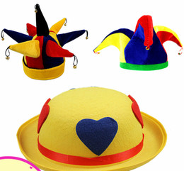 horn hats NZ - Funny clown hat with small bell yellow three cornersseven horns hat Thirteen corners party hat for show cosplay party accessories