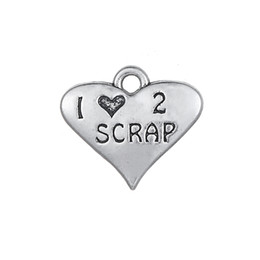 Chinese  New Hot Antique Silver Plated Heart Shape Engraved Letter 1 love 2 SCRAP Double Side Love Charms For DIY Making Jewelry manufacturers