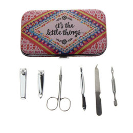 wholesale gifts homes UK - Wholesale- 6Pcs Set Best Professional French Women Girl Travel Home Nail Care Pedicure Gift Tool Product Manicure Set Kit