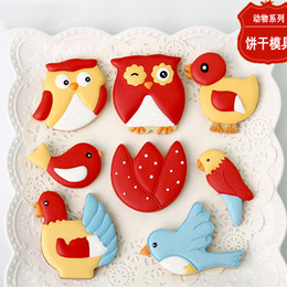 Pastry Cutters Australia - 7pcs Chicken Hen Birds Owl gateau patisserie reposteria Moldes Metal Cookie Cutter Fondant Cake Decorating Biscuit Pastry Chocolate Mould