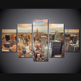 Discount paintings new york - 5 Pcs Set Framed HD Printed New York Empire State Building Wall Pictures Canvas Print Poster Asian Modern Painting Artwo