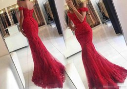 $enCountryForm.capitalKeyWord Canada - New 2017 Sexy Lace Mermaid Prom Dresses Red Off The Shoulder Applique Beaded Formal Evening Dress Cheap Party Gowns Vestidos de fiesta