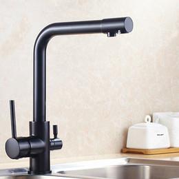 baño negro Montaje de cubierta con cobre mate y Tri Flow Mezclador de lavabo Osmosis 3 vías Filtro de agua Grifo / baño Llave multifuncional