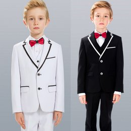 black suit ivory waistcoat NZ - Handsome Three Pieces Of Boys Formal Wear With Jacket+Waistcoat+Pants Polyester Gentleman Preppy Style Kids Tuxedos Suits