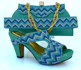 $enCountryForm.capitalKeyWord Canada - New fashion high heel 9.8CM african shoes matching handbag sets with rhinestone decoration ladies shoes for party dress MM1010 AQUA