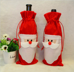 Christmas Dinner Table Decoratio Red Wine Bottle Cover Bags Home Party  Decors Santa Claus Christmas Decoration Factory