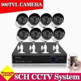 Video Surveillance Camera Systems NZ - 1080P HDMI CCTV security system 8CH AHD-NH DVR kit 8*900TVL Outdoor video surveillance security camera kit Home cctv camera set