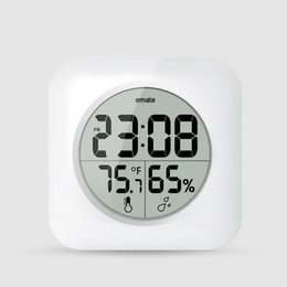 Chinese  Emate Fashion Waterproof Shower Time Watch Digital Bathroom Kitchen Wall Clock Silver Big Temperature and Humidity Display ZA2895 manufacturers