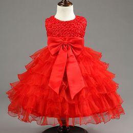 Wholesale- Newborn Infant Girls Wedding Dresses Baby Girl First Birthday Dress For Baby Kids Party Wear Girls New Year Red Dresses Vestido