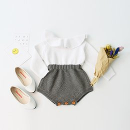 Kids Princess Rompers NZ - Baby Girls Crochet Rompers Kids Girls Full Sleeve Wool Jumpsuit 2017 Autumn Infant Toddler One-piece Princess Romper Children Clothing B74