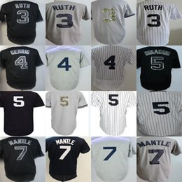 Barato Manto Azul-2017 Mens Ladys Kids Toddlers New York Babe Ruth Lou Gehrig 5 Joe DiMaggio 7 Mickey Mantle Blue Grey White Black Baseball Jerseys