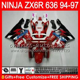 2018 1996 Ninja Zx6r Red Fairing 8Gifts 23Colors For KAWASAKI NINJA ZX6R 94 95 96 97