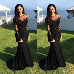 Barato Vestidos Longos Árabes-Vestidos de noite 2017 Sexy Arab Jewel Neck Illusion Lace Appliques Crystal Beaded Black Mermaid Sleeves Longas Formal Party Dress Prom Gowns