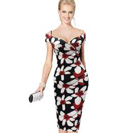 $enCountryForm.capitalKeyWord UK - Nice Womens Sexy V-Neck Strap Elegant Off Shoulder Floral Print Knee Midi Casual Party Club Evening Formal Bodycon Dress