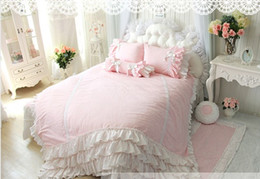 princess bedding set king size Canada - princess Pink bows Wedding luxury Bedding 4pcs set cotton Duvet cover pillowcase King queen size girls Home Bedding SWEETgift Bedskirt