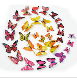 Best Bedroom Wall Stickers NZ - Best Gift 3D Butterfly wall stickers home decor Sticker on the Art Wall decal Mural for vintage Home appliances kids rooms 12pcs bag