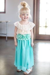 Cute Tops De Gasa Baratos-Cute Pink Mint Flower Girl Dress Una línea Jewel Cuello de encaje Top Chiffon falda y flor Sash para Belt Spring Summer Occasions Dress