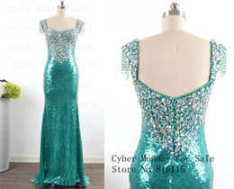 Robes De Soirée Paillettes Vertes Pas Cher-Sparkly Sequin Mermaid Robe de soiree bretelles Long Emerald Green Formal Evening Gown Photos réelles Livraison gratuite