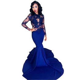 $enCountryForm.capitalKeyWord Canada - Royal Blue Mermaid Long Sleeve Evening Gown 2019 Robe De Soiree Manche Longue Maternity Evening Dresses