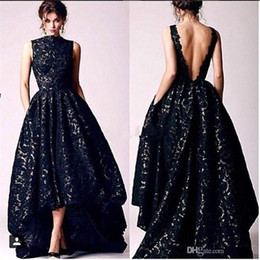 Robes D'occasion Sans Dossier Pas Cher-2017 Nouveau Arabe High Low Black Lace Prom Fête Robes Vintage High Neck Sexy Backless Formal Occasion Evening Gowns