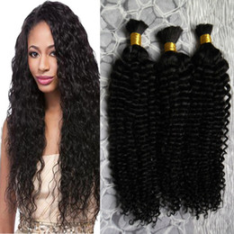Discount brazilian crochet braiding hair - Human Braiding Hair Bulk No Attachment Brazilian Afro Kinky Curly Crochet Braids 3 Piece 300g human braiding hair bulk