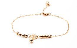 $enCountryForm.capitalKeyWord UK - HOT Little Bell Anklet Bracelet Rose Gold Titanium Steel Women Girl Lover Barefoot Anklet Fashion Foot Chain Jewelry