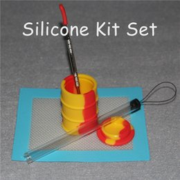 Oil Barrel Drum Canada - 1set Silicone Wax Kit Set with silicone pads mat 26ml barrel drum jar silicon oil drum containers dabber tool for dry herb jars