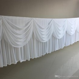 Wedding table skirting swag nz buy new wedding table skirting swag high quality 20ft 6m length white ice silk solid table skirt with swag for wedding decoration table skirting free dhl find similar nz5641 junglespirit Image collections