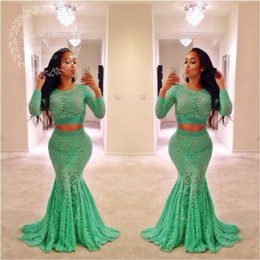 Verde Del Vestido Formal De La Manga Del Cordón Baratos-Lace Green Lace Dos Piezas Prom Dresses 2017 mangas largas Mermaid Evening Dress Africano más tamaño Black Girls Fiesta formal Vestidos
