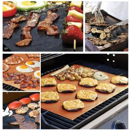 Gold Pans Wholesale Canada - Barbecue Grilling Liner BBQ Copper Grill Mat Portable Non-stick and Reusable 33*40CM 0.2MM Black Gold Oven Hotplate Mats X019-1