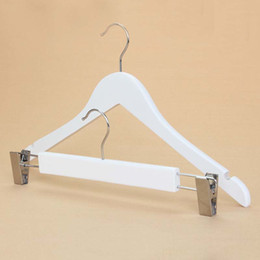 Hats Skirts NZ - 33-40cm White Wood Hanger for Lady Man Adult clothes skirt Trousers Pants Racks with Clips Solid Wooden Hanger with Chrome Round Hook
