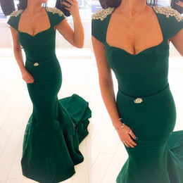 EmErald grEEn onE shouldErEd drEss online shopping - Emerald hunter Green robe de soiree longue Long Evening Dress Mermaid Trumpet Style Cap Sleeve Women Formal prom Dresses Pearls