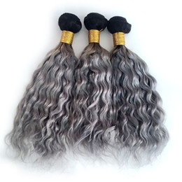 Hot beauty Human Hair online shopping - Hot Beauty Ombre Color B Grey Human Hair Weaves Two Tone Human Hair Weaves Dark Root Water Wave Human Hair Weft