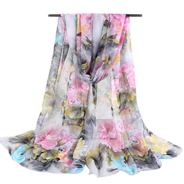 Muslims Scarves Canada - Wholesale- New Fashion Flower Bandana Silk Scarf For Women Muslim Hijab Chiffon Georgette Scarves Long Shawl Summer Foulard High Quality