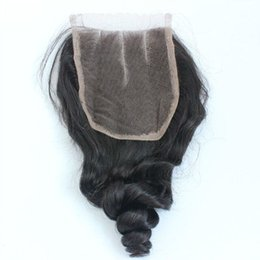 peruvian lace closure fast shipping UK - Fast shipping Brazilian Malaysian Indian Peruvian Vietnamese Mongolian Hair 3.5*4Top Lace Closure 8-20inch loose wave Human Hair Closure