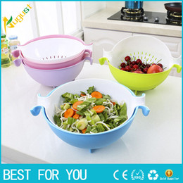 kitchen basket strainer Canada - 4 Colors Kitchen Sink Basket Plastic Draining Double Layer Washing Basket Vegetables Strainer Fruit Washing Basket