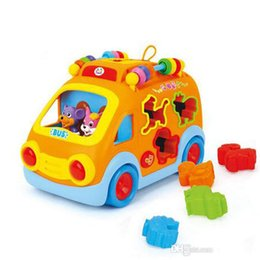 Infant Cars Canada - 2017 new free shipping,intelligence Cartoon animal bus, electric music multifunction baby toy car Learning Toys