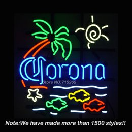 Lunettes De Soleil Pas Cher-Vente en gros- Corona Beer Sun Paim Fish Neon Sign BEEP Neon Bulbs Store Affichage Real Glass Tube Custom Design Handcrafted 19x15