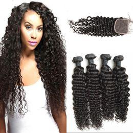 $enCountryForm.capitalKeyWord Canada - Deep Wave Human Hair Bundle with Closure 10-30 Malaysian Virgin Hair Weaves with 4x4 Curly Lace Closure FDSHINE