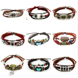 Wedding figurines online shopping - Best gift Cowhide bronze figurine leather bracelet handmade jewelry FB229 mix order pieces a Charm Bracelets