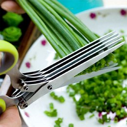 $enCountryForm.capitalKeyWord Australia - Wholesale Multi-functional Stainless Steel Kitchen Knives 5 Layers Scissors Sushi Shredded Scallion Cut Herb Cooking Tools Free Shipping