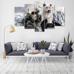 Modern Canvas Pictures Poster Prints Home Decor Wolf Painting 5 Panel Game Of Thrones Living Room Wall Art Frame