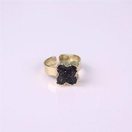 Flower Druzy Canada - Natural Stone Druzy Vug Crystals Ring Exclusive Flower Shape Black Raw Drusy Cluster Adjustable Reiki Gemstone Finger Rings Golden Unisex