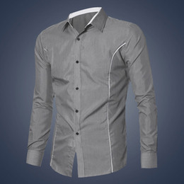 Chemise Habillée En Mode Élégante Noire Pas Cher-Vente en gros - 20176 Fashion New Mens Long Sleeve à manches longues Slim Fit Stylish Dress Shirts Grey Blanc Noir M-XXL Taille Hommes Chemises