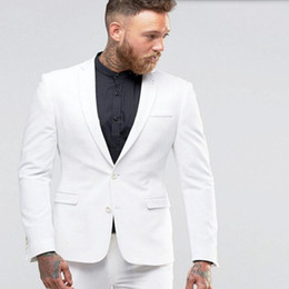 Grooms White Suit Canada - New Arrival Man Suit White Groom suits Tuxedos custom made Groomsman Suit tuxedos prom dinner suits tuxedos (Jacket +Pants)