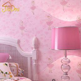 Wholesale Modern Cute Cartoon Ballet Girl Wallpaper Rolls For Children  Bedroom Living Room Background Wall Coverings Papel De Parede 3D
