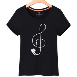 Cotton Print Material Canada - Free shipping cotton material music notes printed women 's short sleeved t-shirt loose large size casual music T-shirt